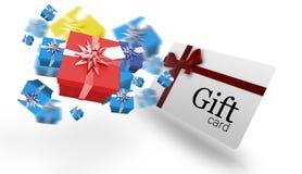 Image composée des cadeaux de Noël de vol Photos stock