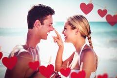 Image composée des coeurs accrochant sur une ligne Photographie stock