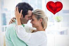 Image composée des coeurs 3d de couples et de valentines Images stock