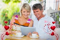 Image composée des coeurs 3d de couples et de valentines Photos stock