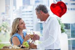 Image composée des coeurs 3d de couples et de valentines Photographie stock libre de droits