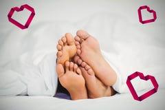 Image composée des coeurs 3d de couples et de valentines Image libre de droits