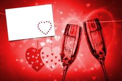 Image composée des coeurs rouges d'amour Image libre de droits