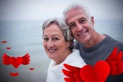Image composée des coeurs supérieurs 3d de couples et de valentines Photographie stock