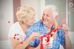 Image composée des coeurs supérieurs 3d de couples et de valentines Images libres de droits