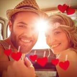 Image composée des couples de hippie sur le voyage par la route Photo stock