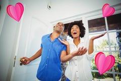 Image composée des couples et des coeurs 3d Photographie stock