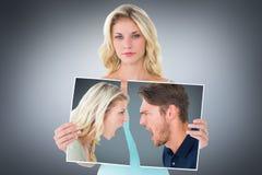 Image composée des couples fâchés criant pendant l'argument image libre de droits