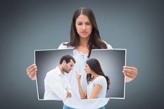 Image composée des couples fâchés faisant face pendant l'argument image libre de droits