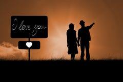 Image composée des couples heureux de hippie tenant des mains et le regard Photographie stock