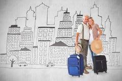 Image composée des couples heureux prêts à partir en vacances Image libre de droits