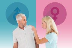 Image composée des couples malheureux ayant un argument photos stock