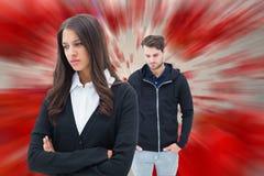 Image composée des couples malheureux ne parlant pas entre eux Photos stock