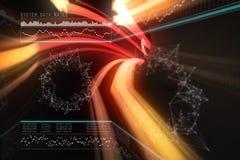 Image composée des débits de données du système avec la représentation graphique 3d Image stock