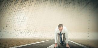 Image composée des gens d'affaires prêts à commencer la course Photographie stock libre de droits