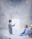 Image composée des gens d'affaires regardant le conseil de réunion pendant la conférence Photo stock