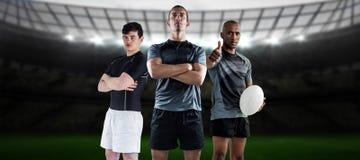 Image composée des joueurs durs 3D de rugby Photos libres de droits