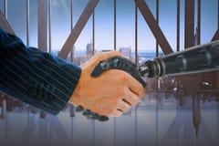 Image composée des mains cultivées du traitement de robot et d'homme d'affaires photo libre de droits