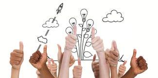 Image composée des mains montrant des pouces  Image stock