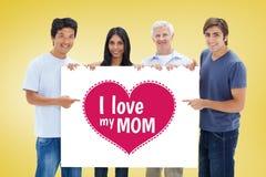 Image composée des personnes dans des jeans tenant et montrant un grand signe Photos stock