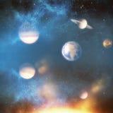 Image composée des planètes au-dessus du soleil 3d Photographie stock