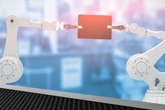 Image composée des robots et du comprimé numérique sur le fond blanc 3d Photo libre de droits
