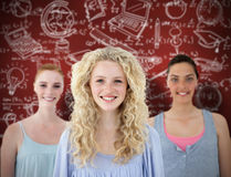 Image composée du beau sourire de filles de tennage Photos libres de droits