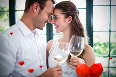Image composée du coeur 3d de couples et de valentines Photographie stock libre de droits