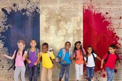 Image composée du fonctionnement élémentaire d'élèves Photo stock