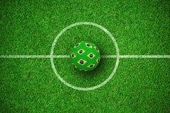 Image composée du football dans des couleurs brésiliennes Illustration Libre de Droits