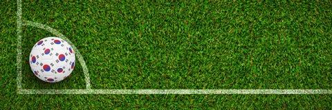 Image composée du football dans des couleurs de la Corée du Sud Photographie stock