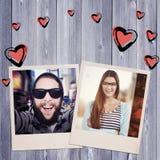 Image composée du jeune travailleur créatif souriant à l'appareil-photo Images stock