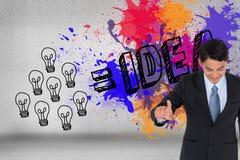 Image composée du pointage asiatique d'homme d'affaires Image libre de droits