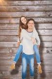 Image composée du portrait de jeunes couples heureux ferroutant Photographie stock libre de droits