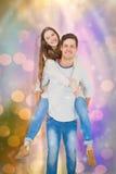 Image composée du portrait de jeunes couples heureux ferroutant Photographie stock
