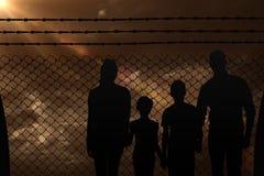 Image composée du portrait de la famille heureuse marchant au-dessus du fond blanc Photos libres de droits