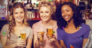 Image composée du portrait des amis féminins gais ayant la boisson Photographie stock