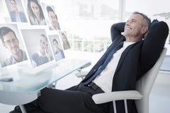 Image composée du portrait des gens d'affaires photos stock