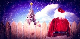 Image composée du sac de transport à Santa de cadeaux Photographie stock libre de droits