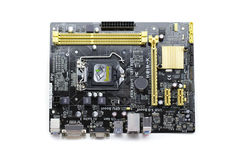 Image of Computer Motherboard on a white background. Equipment. Stock Images