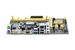 Image of Computer Motherboard on a white background. Equipment a Royalty Free Stock Photos