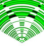Dinamic and shap image of green concentric arcs
