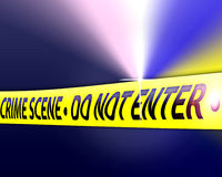 Crime Scene Investigation. An image for the concept of Crime Scene Investigates. The image shows a crime scene with yellow tape the say Crime Scene do not enter Stock Photography