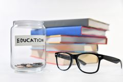 Concept of saving money. Image on concept of saving money for education Stock Images