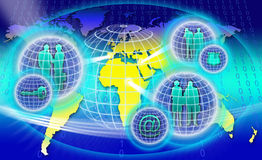 Secure World Network. An image for the concept of Secure Worldwide Network showing a map of planet earth with computer data code behind it and three sphere of Royalty Free Stock Photography