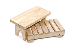 Image concept table and pallet made from light brown wood Stock Image