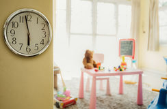 Image Concept Toys to play with time/ Interior of colorful playing room for kids . Stock Image
