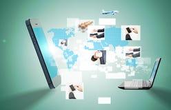 Image conceptuelle au sujet de la façon dont une technologie sans fil de connexion de smartphone Image libre de droits