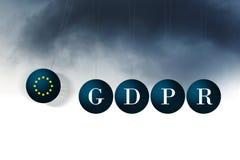 Image conceptuelle de GDPR Approche de nuages de tempête Photo stock