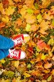 Image conceptuelle de style de hippie des jambes dans les bottes, chaussures en caoutchouc à la mode Photos stock